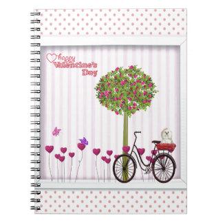 Cadernos Espiral Cão pequeno, cesta, bicicleta, árvore da flor e