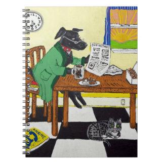 Cadernos Espiral Cão que aprecia o café e as rosquinhas