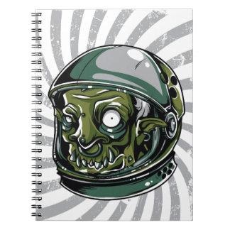 Cadernos Espiral cara assustador do zombi do vintage
