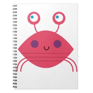 Cadernos Espiral Caranguejo cor-de-rosa no branco