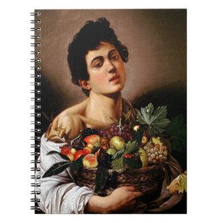 Cadernos Espiral Caravaggio - menino com uma cesta de trabalhos de