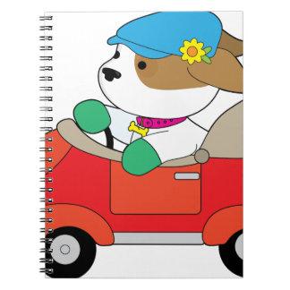 Cadernos Espiral Carro do filhote de cachorro
