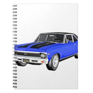 Cadernos Espiral Carro do músculo de 1968 azuis