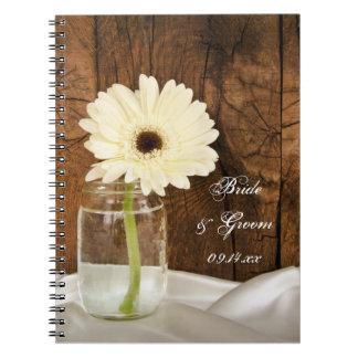 Cadernos Espiral Casamento do celeiro do país do frasco de pedreiro