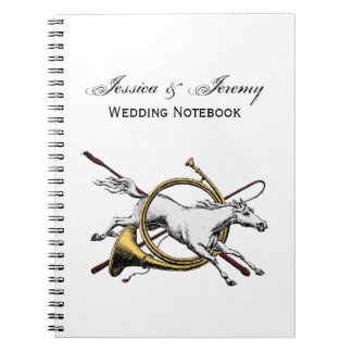 Cadernos Espiral Cavalo equestre formal que salta com a cor do