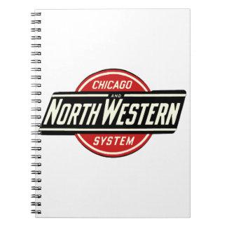 Cadernos Espiral Chicago & logotipo do noroeste 1 da estrada de