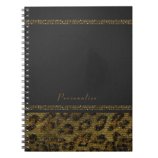 Cadernos Espiral Chita moderna chique Glam dos Sequins da faísca do