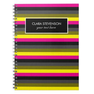 Cadernos Espiral cinza amarelo de néon na moda fresco da parte