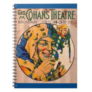 Cadernos Espiral cobrir do playbill do teatro de Cohan do 1920