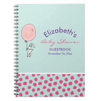 Cadernos Espiral Coelho bonito que guardara um Guestbook do chá de