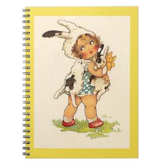 Cadernos Espiral Coelho de coelho doce do vintage do livro do
