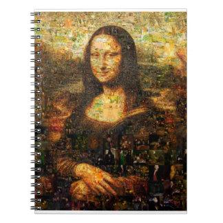 Cadernos Espiral colagem de Mona lisa - mosaico de Mona lisa - Mona