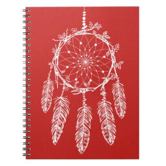 Cadernos Espiral Coletor vermelho & branco tribal do sonho de