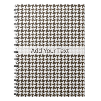Cadernos Espiral Combinação Houndstooth de Brown por Shirley Taylor
