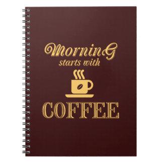 Cadernos Espiral Começos da manhã com café