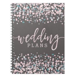 Cadernos Espiral Cora o planejador cor-de-rosa do casamento dos