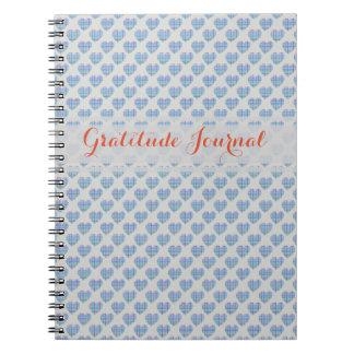 Cadernos Espiral Corações azuis no cinza