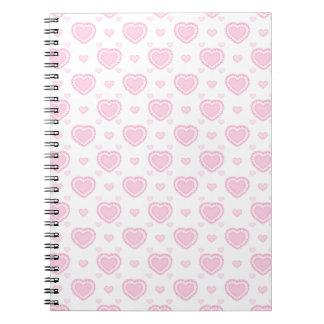 Cadernos Espiral Corações cor-de-rosa & brancos românticos