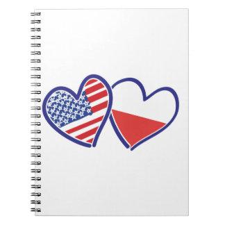 Cadernos Espiral Corações da bandeira do Polônia dos EUA