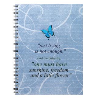 Cadernos Espiral Cotação inspirador da borboleta azul e preta