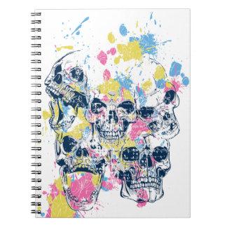 Cadernos Espiral crânios coloridos do vintage