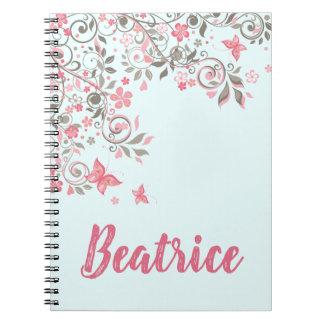 Cadernos Espiral Crescimento de flores cinzento e cor-de-rosa