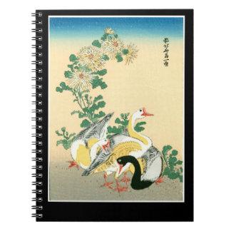 Cadernos Espiral Crisântemo exótico impressionante dos gansos do