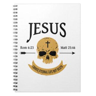 Cadernos Espiral Cristão da vida eterna do crânio de Jesus