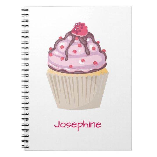 Cadernos Espiral Cupcakes cor-de-rosa da baga