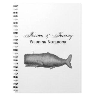 Cadernos Espiral Desenho do século XIX da baleia do vintage