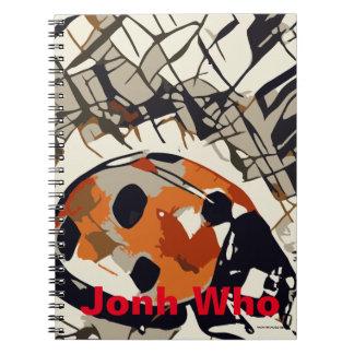 Cadernos Espiral Desenho estilizado de um joaninha vermelho