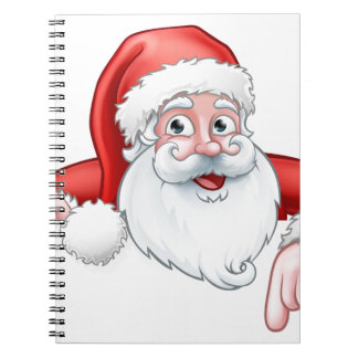 Cadernos Espiral Desenhos animados do papai noel que apontam para
