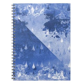 Cadernos Espiral Design azul abstrato das gotas da chuva