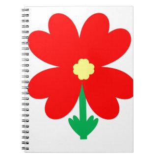 Cadernos Espiral Design da flor do coração