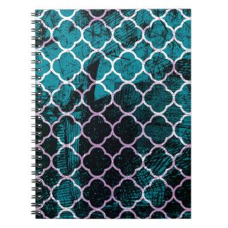 Cadernos Espiral Design marroquino azul do Grunge