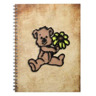 Cadernos Espiral Design rústico do urso da margarida