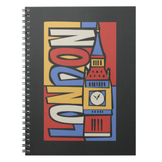 Cadernos Espiral Design vibrante de Londres, Inglaterra   Handrawn