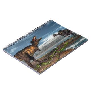 Cadernos Espiral Dinossauros do rex e do saurolophus do