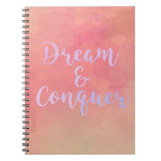 Cadernos Espiral Dream And Conquer Girly Watercolor Notebook