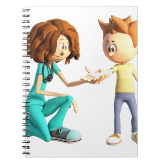 Cadernos Espiral Enfermeira e Little Boy dos desenhos animados