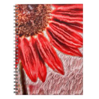 Cadernos Espiral Esboço vermelho do girassol