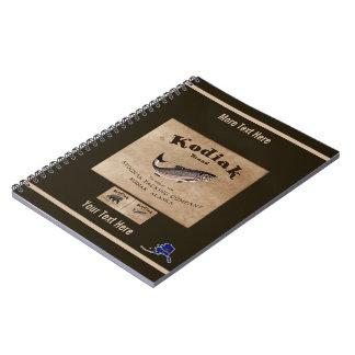 Cadernos Espiral Etiqueta dos salmões do Kodiak do vintage (peixes)