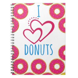 Cadernos Espiral Eu amo o cartaz das rosquinhas
