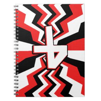 Cadernos Espiral Explosão vermelha, preta, & branca do ziguezague