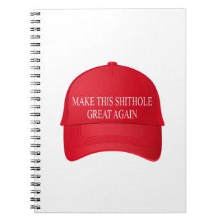 Cadernos Espiral Faça este boné vermelho do excelente do shithole
