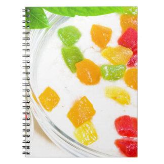 Cadernos Espiral Fim-acima saudável da farinha de aveia com frutas