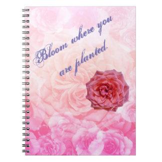 Cadernos Espiral Flor onde você é plantado
