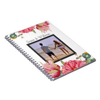 Cadernos Espiral Flor vermelha personalizada da papoila da aguarela