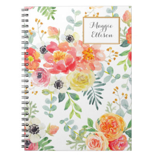 Cadernos Espiral Floral amarelo cor-de-rosa personalizado com