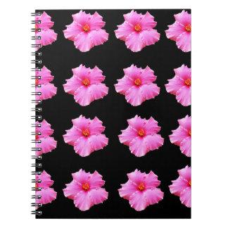 Cadernos Espiral Flores cor-de-rosa do hibiscus no preto, _